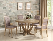 5 Pcs Solid Wood Veneer Circle Dining Set