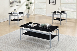 3 Pcs Metal and Glass Coffee Table Set