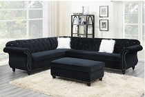 Black Velvet Suede 4-PCS Sectional Set