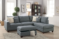3 Pcs Dorris Steel Fabric Sectional Sofa Set with Ottoman