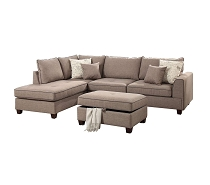 3 Pcs Dorris Mocha Fabric  Sectional Sofa Set with Ottoman