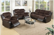 2 Pcs Chocolate Recliner Sofa Set
