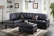 3 Pcs Sectional Espresso Leather
