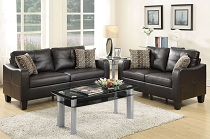 2-Pcs  Brown Leatherette Sofa Set