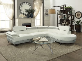 White with Grey Modern Leatherette Sectional