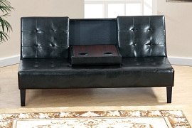 Black Faux Leather Adjustable Sofa