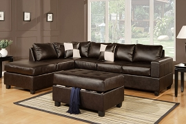3 Pcs Leather Sectional  with Ottoman-color option