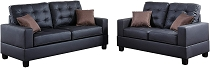 2 pcs Brown  Leatherette Sofa Set