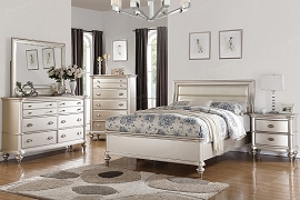 Silver Finish Bed Frame with Upholstered Headboard