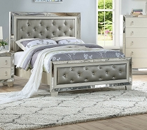 Mirrored Silver Finish Bed Frame with Accent Button Tufting