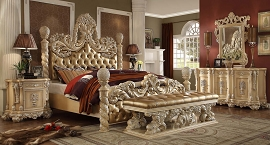 King Bed Homey Design Victorian Palace HD-7266 bedroom Set Collection .Pickle Frost & Antique Silver Finish