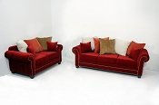 2 Pcs Red Ruby Sofa Collection set- Custom Colors