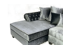 Double Chaise Sectional in Charcoal Glam Velvet With Diamond Tufting ( EZ Custom Sofas )