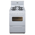 24 in. 2.97 cu. ft. Premier Freestanding Gas Range in White or Black