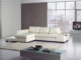 White Modern Leather Mini Sectional Sofa with Light