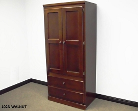 Tall Walnut Finish Wardrobe