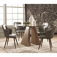 5 PCs Metallic Grey Leatherette Dining Set