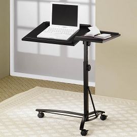 Desks Laptop Computer Stand With Adjustable Swivel Top And Casters
