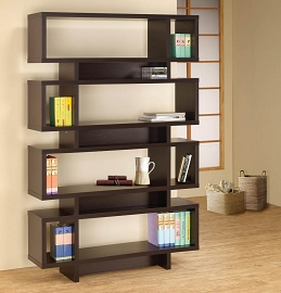 Contemporary Cappuccino Finish Open Bookcase