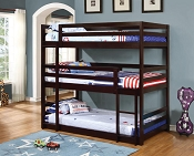 Triple Layer Twin Wooden Bunk Bed-color option