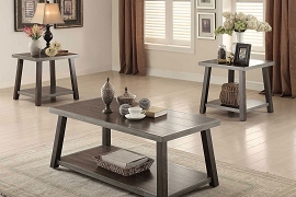 3-PC Coffee  and End Table Set - Grey Espresso