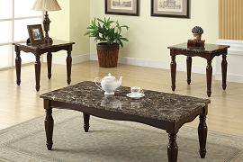 3PC Coffee and End Table Set - Faux Marble & Dark Cherry