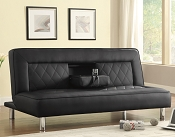 Futons Sofa Bed in Black Leatherette with Drop Console & Cup Holders