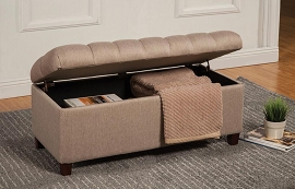 Brown Tufted Seat Bench