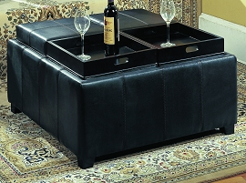 4 Tray Table Ottoman with Storage