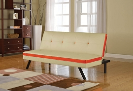 Cream and Red Sofa Bed