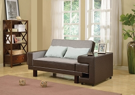 Gray Linen Brown Adjustable Sofa Bed