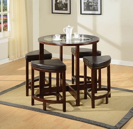 5 Piece Espresso Finish Counter Height Table Set
