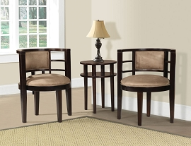 3 Piece Espresso Finish Accent Table and Chairs