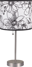 White and Black Flower Table Lamp