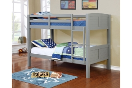 Twin Convertible Wooden Bunk Bed - Grey, White, or Black