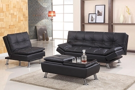 Black Adjustable Futon Sofa