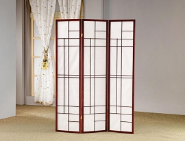 Brown/Red Finish Folding Screen