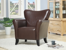 Brown Faux Leather Accent Chair