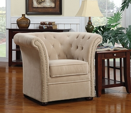 High Back Beige Accent Chair