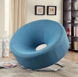 Blue Linen Contemporary Chair