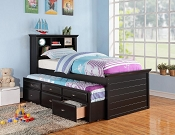 Twin Book Case Trundle bed with Drawers- color option