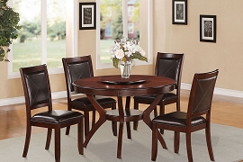 5 Pcs Dark Cherry Round Dining Table