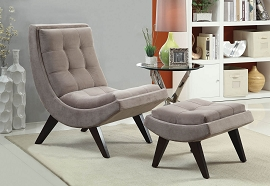 2 Piece Grey Fabric Chair and Ottoman
