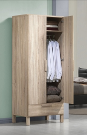 Oak Finish Wardrobe Closet with Drawer
