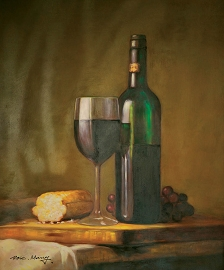 Wine and Bread Oil Canvas