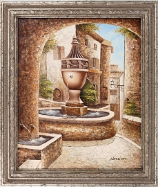 Neighborhood Fountain Canvas Painting