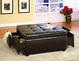 Espresso Finish Ottoman with Drawers