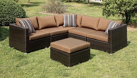 Abion Patio Brown Sectional Set