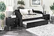 Esperanza Black Padded Flannelette Fabric Twin Size Daybed