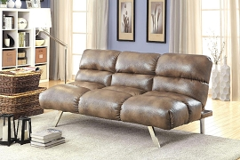 Tan Leatherette Futon